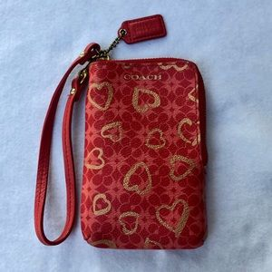Coach Red Leather Heart Wallet